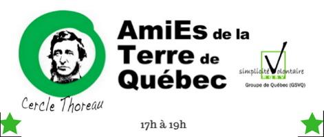 Bannière sur fond blanc : dessin du portrait classique d'Henry David Thoreau au milieu cercle vert qui est le logo des ATQ. Logo aussi de GSVQ. Deux étoiles vertes.