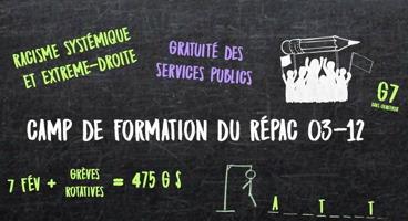 Affichette sur fond gris-noir marbré : dessin de l'ombre blanche d'une foule tenant un crayon. « Racisme systémique et extrême-droite ; Gratuité des services publics ; G7 ; Grèves rotatives pour 475 G$ ».