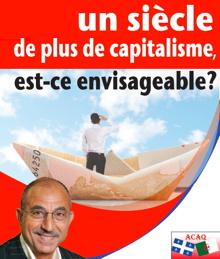 Affichette sur fond d'une photo d'un bateau en papier journal. Un homme se tient sur le bateau et regarde au loin. Portrait superposé au bas de M. Aktouf, souriant, sans cheveux, lunette discrète. Logo ACAQ : drapeau Québécois et drapeau de l'Algérie côte-à-côte.