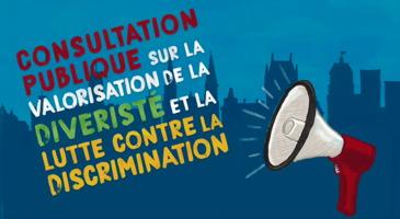 Affichette : ombre bleue du Château Frontenac et autres bâtiments de Québec. Un porte-voix rouge émet des ondes sonores.</body></html>