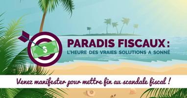 Affichette : dessin d'une ile tropicale (plage et palmiers). Une flèche frappe un billet (dollars). « L'heure des vraies solutions à sonné ».</body></html>
