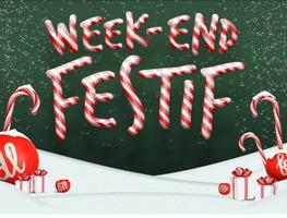 Affichette : sur fond vert forêt ou sapin, « Week-end Festif » écrit avec un motif de cannes de sucre de Noël.