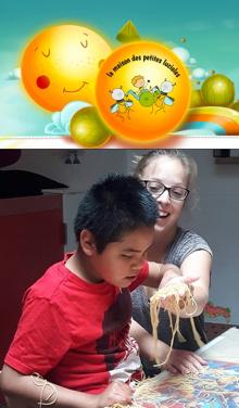 Deux images : 1) le dessin-logo de l'organisme : soleil avec un visage serein, garçon jouant avec des lucioles, arbres ronds et verts, ciel turquoise, arc-</body></html>