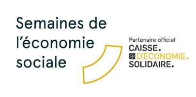 Affichette sur fond blanc : le titre agrémenté d'un quart de cercle jaune. « Partenaire officiel : Caisse d'économie solidaire ».