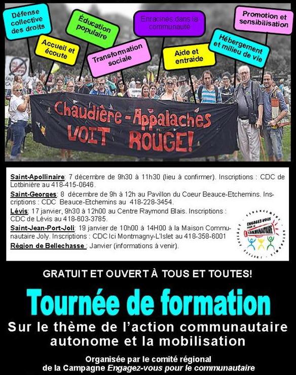 Affiche : photo de gens tentant une bannière noire avec le message rouge « Chaudière-Ap</body></html>