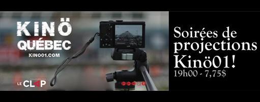 Bannière sur fond noir : une caméra moderne, petite, filme le Centre Innovation à Sainte-Foy, qui est en forme de pyramide. « KINÖ Québec : soirées de projections. 19 h. 7.75 $ » Logo: Le Clap.