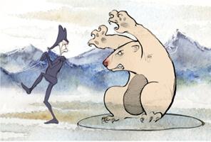Image tirée du film « La version de l'ours » : un ours menaçant, beige, intimide un homme aux jambes et bras très minces, vêtu en mauve, avec un chapeau style militaire victorien (tricorne).  Ils sont sur de la glace. Derrière il y a de belles montagnes bleutées. L'ours ressemble à une marmotte géante.