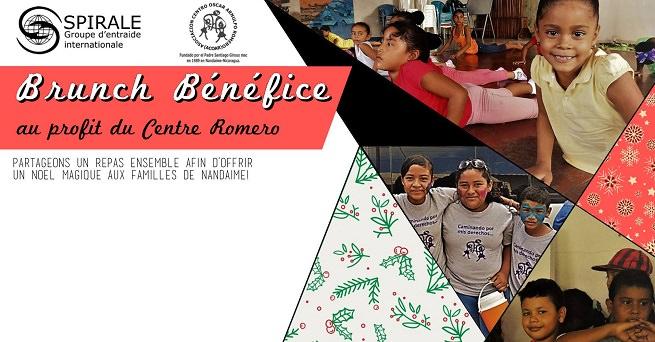 Bannière web utilisée en 2017 : photos des enfants sud-américains du Centre Romero faisant de l'exercice, jouant, etc. « Partageons un repas ensemble afin d'offrir un Noël magique aux familles de Nandaime ». Logo Spirale (un gros S formé de deux sortes de bras et mains qui se rejoignent, au-dessus d'un globe terrestre).