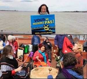 Deux photos : une jeune femme (Marie-Pierre) tient une affiche bleu « Vous ne passerez pas ! » : derrière elle, le fleuve. 2) Quatre femmes frappent ensemble un grand tambour avec joie et énergie. Des enfants autour souriants. Les deux photos sont du lancement à Bécancour du nouveau mouvement citoyen en 2017 : Vous ne passerez pas.