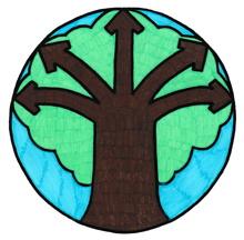 [Logo 2017 : dessin d'un arbre brun avec cinq grandes branches en forme de flèche pointant dans cinq directions différentes.  « Nuage » vert représentant son feuillage. Fond bleu ciel.]