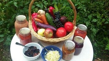 Photo : panier de légumes divers et colorés. Placés autour vers le devant, cinq pots et deux bols remplis d'aliments.