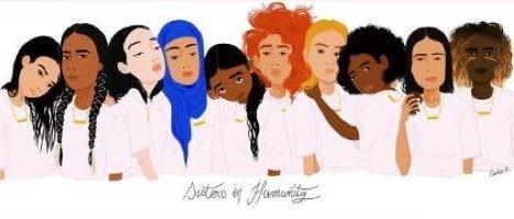 Bannière : dessin de dix femmes côte-à-côte ayant des chevelures et styles différents.