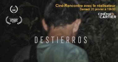 Affichette : photo d'un homme de dos la nuit, la tête basse. Logo du Cinéma Cartier. Logos de prix cinématographiques.