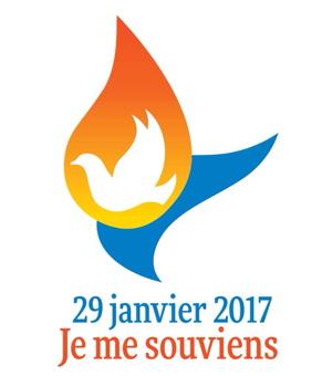 Logo conçu par le groupe citoyen : comme une goutte d'eau orange-rouge, dans laquelle se trouve un oiseau blanc. Derrière, comme une vague bleue. « 29 janvier 2017 - Je me souviens ».