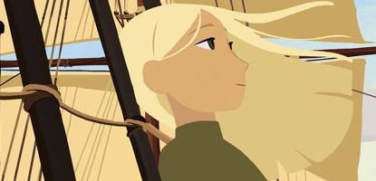 Capture-écran du film (dessins animés) : une jeune fille blonde, sur un navire à voile, les cheveux dans le vend.  Elle regarde au loin et semble sereine.