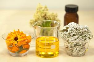 Photo : trois petits contenants de verre. 1) fleurs jaunes : Soucis ; 2) liquide jaune ; 3) fleur blanche-grise touffue : Achillée.