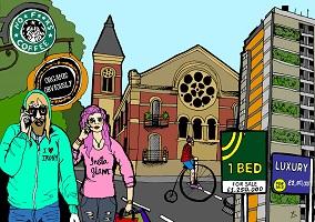 Dessin : un jeune homme barbu et une jeune femme aux cheveux rose, les deux parlant dans leur téléphone cellulaire, sur une rue où on voit la façade d'une église, un cycliste, des écriteaux commerciaux</body></html>