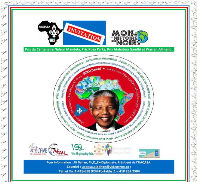 Affiche générale pour les activités organisées par l'UAQASA en février 2018 : portrait de Nelson Mandela devant le continent d'Afrique de diverses couleurs. Logo UAQASA, Mois de l'histoire des Noirs, AMIE, AEALL, VEQ, etc.