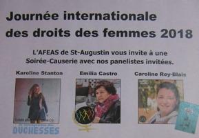 Capture-écran de l'affiche : photos de Karoline Stanton (jeune, cheveux longs, vêtements colorés) ; Emilia Castro, foulard mauve, l'hiver, avec logo de la MMF ; Caroline Roy-Blais, souriante, cheveux bruns, foulard blanc.
