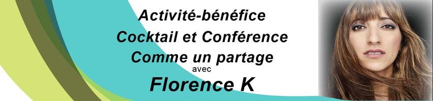 Bannière : portrait de Florence K. : cheveux longs bruns-blonds dans le vent, regard serein. « Comme un partage » avec Florence K. Vagues de couleurs : vert olive, vert kaki, vert bleu.