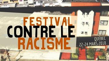 Affichette bannière: photo d'immeubles d'habitation vus de haut. Lancement de la programmation et soirée de financement du Festival contre le racisme de Québec.