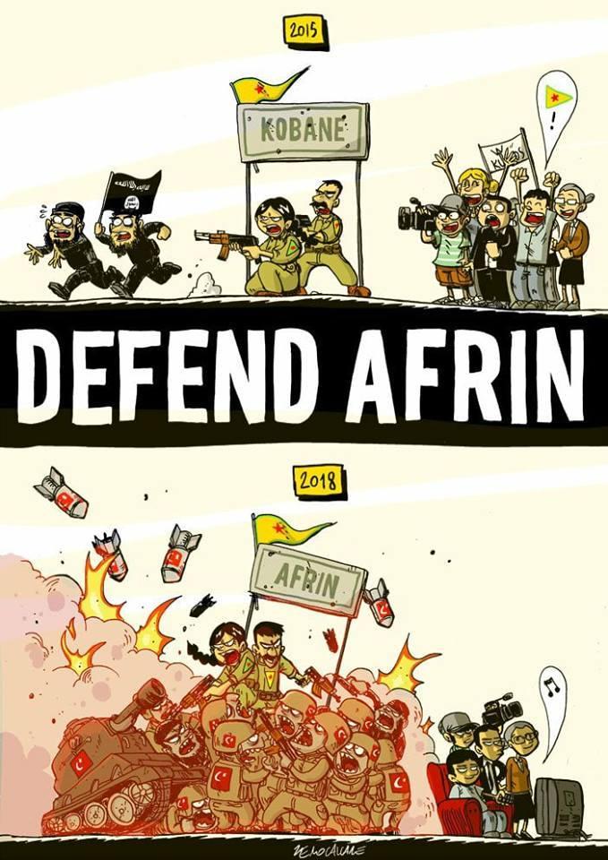 Dessin, caricature en comparant deux scènes : 2015 : une foule et des caméras, appuient avec joie, quelques combattants de Kobane faisant fuir deux extrémistes de Daesh (ISIS). 2018 : de nombreux combattants fureux, bombes et blindés amassés à Afrin... Les gens sont devant leur TV et ignorent le tout.