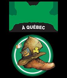 « La Sainte Patrick à Québec » en lettres vert pomme avec deux trèfles. Logo : une vieille botte en cuir, surmontée d'un vieux chapeau en cuir, avec un dessin de bateau comme celui de la Ville mais jaunâtre. Le tout dans un cercle vert, avec un mini-drapeau irlandais.