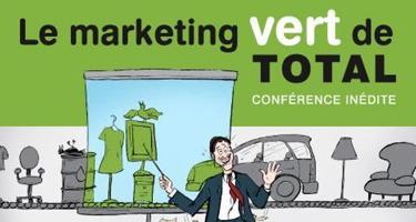 Bannière : dessin humoristique d'un homme en veston cravate qui pointe sur un écran bleu ciel affichant des objets verts divers. Derrière, une ligne de montage d'objets gris : voitures, meubles, etc. « Le marketing vert de TOTAL - Conférence inédite ».