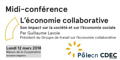 Affichette sur fond blanc : résume les info transcrites dans cette annonce. Logos : PôleCN et CDEC de Québec.