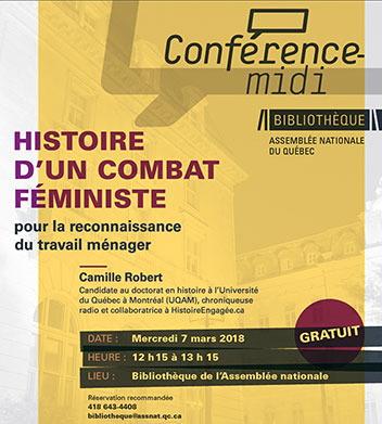 L'affiche sur fond jaune-beige : Histoire d'un combat féministe. Insistance colorée sur le mot Gratuit.