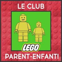 Logo : sur fond de texture lego rouge, deux bonhommes lego jaune : un grand, un petit.