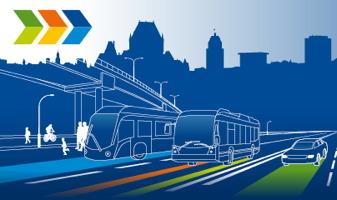 Imagerie officielle de la Ville pour ce projet : ombre bleu foncé de la ville de Québec dont le Château Frontenac ; autobus (2) et voiture bleu simple à traits blancs ; ombres blances de piétons et cyclistes ; lignes colorées sur la route ; trois sortes de flèches (») vert, jaune orange et bleu.