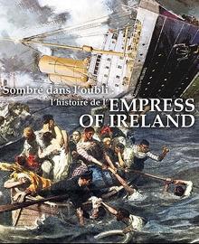 Affiche : peinture d'une vingtaine de personnes, à la peau foncée, sur un canot, fuyant un grand navire à cheminées coulant à la verticale.