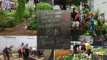 Affichette : quatre photos et, au centre, un tableau avec info écrite à la craie. Jardins verts, des gens, dont des enfants, travaillant dans des jardins le long des rues.