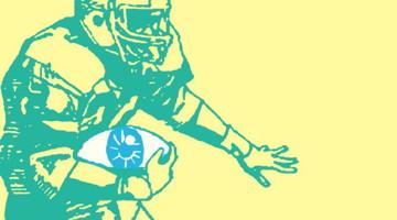Image : dessin d'un joueur de football américain, vert sur fond jaune pâle. Sauf que son ballon est un oeil.