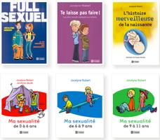 Miniatures de six pages couvertures de ses livres, car ils sont évocateurs des sujets de sa spécialisation : « Full sexuel » (dessin de deux jeunes ados), « Te laisse pas faire ! » (deux jeunes ados dos-à-dos comme solidaires), « Ma sexualité » (0 à 6 ans, 6 à 9 ans, 9 à 11 ans).