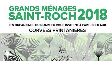 Affichette: Grands ménages Saint-Roch, écrit en grandes lettres vertes. Dessin de plusieurs râteaux, mais on dirait presque des fleurs.