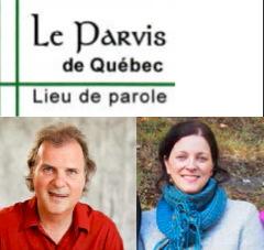 Logo Le Parvis de Québec - Lieu de parole. Deux lignes vertes se croisent en bas à gauche.  Portrait des deux personnes invitées.  L'homme a les cheveux brun-blond, chemise rouge, sourit. La femme a les cheveux brun attachés, souriante, dans la nature, foulard bleu.