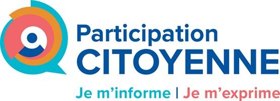 Affichette sur fond blanc : plusieurs lignes circulaires, de couleurs différentes, forment un seul cercle inégal. Participation citoyenne - Je m'informe - Je m'exprime.