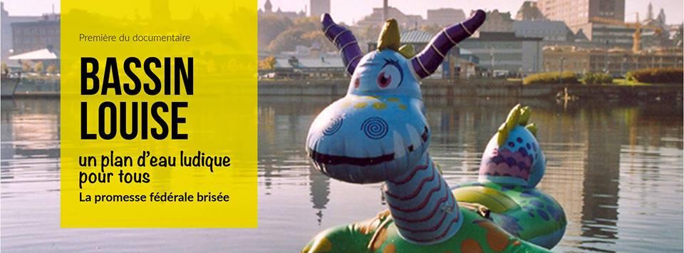 Photo du bassin, en direction du port : la mascotte du mouvement est un petit dragon bleu gonflable (qui est en fait une embarcation pour enfant). « Première du documentaire »