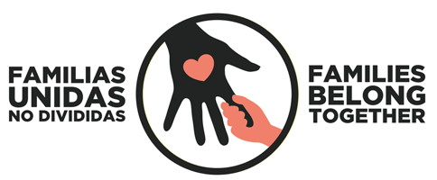 Bannière web officielle : une petite main rosée agrippe le doigt d'une main noire tendue: un coeur sur la main. « Familias unidas No dividas. Families Belong Together ».