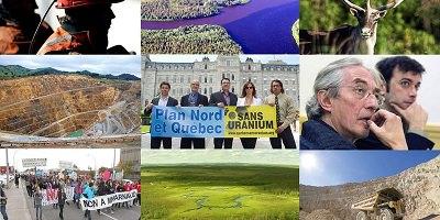 Neuf photos : des vues aériennes des territoires, des animaux sauvages, des manifestations, des conférences.