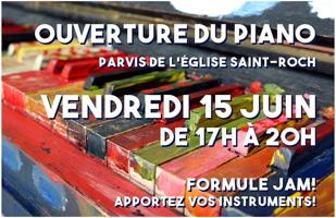 Affichette : photo des touches du piano peinturées rouge, noir, vert, rose, orange... « Formule Jam ! Apportez vos instruments ! »