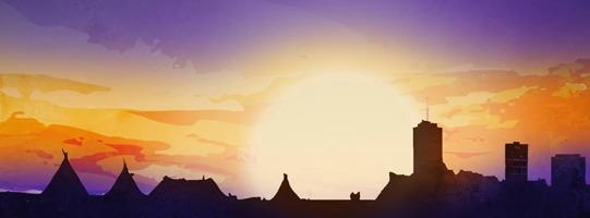 Bannière artistique pour l'événement (aucun texte) : horizon où le soleil, très grand, se couche.  Le ciel est mauve ou violet, les nuances oranges et jaunes. En ombres toutes noires, des tipis à gauche et des gratte-ciels à droite, dont le Complexe G de Québec.