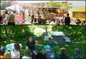 Deux photos : des gens entre 20 et 30 ans fêtent au soleil sur Le SPOT ; une jeune femme anime une visite guidée pour une dizaine de petits enfants sur du gazon très vert et de la forêt derrière.