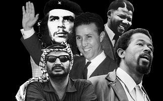 Sur fond noir, montage de cinq portraits de personnages historiques iconiques : Che Guevara, Nelson Mandela, Yasser Arafat, etc.