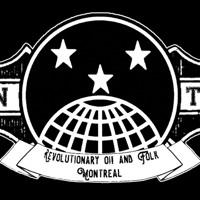 Logo de l'IWW, soit trois étoiles au-dessus d'un globe terrestre, mais avec l'ajout des mots « Révolutionary Oi! and Folk - Montréal ».