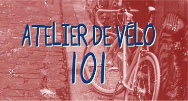 Affichette sur fond flitre rouge : photo d'un vélo accôté le long d'un muret urbain de ciment, le long d'une rue de pierres anciennes.