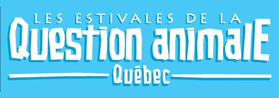 Affichette sur fond bleu ciel saturé - Estivales de la question animale Québec.