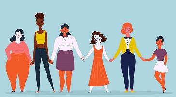 Dessin de six femmes se tenant par la main. Elles sont toutes très différentes : tailles, couleurs, styles, etc.